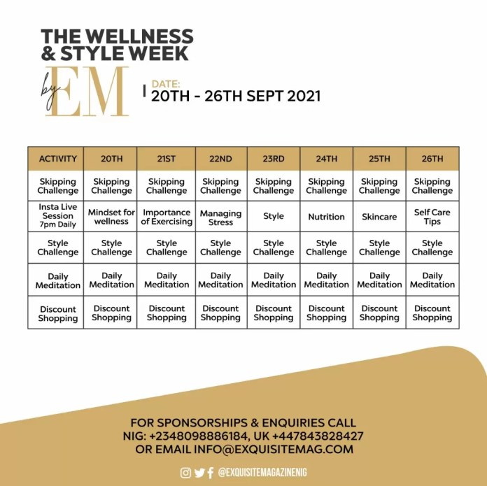 Here Is The EM Wellness and Style Week Schedule