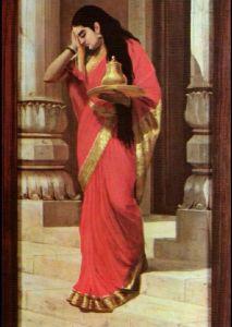 ...of Raja Ravi Varma's painting of Draupaudi Carrying Milk & Honey