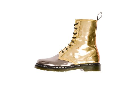 Silver and Gold Doc Marten boots by Raf Simons