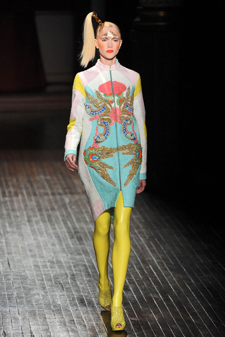 Manish Arora Printed Coat and Yellow Leggings SS11 on exshoesme.com