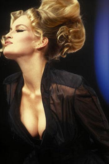 Karen Mulder for Mugler, 1980s on exshoesme.com