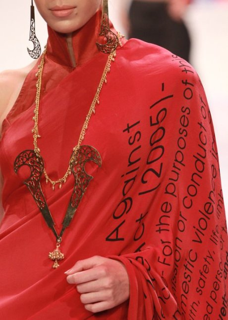 Breathing Space by Eina Ahluwalia Red Letter Sari and Necklace on exshoesme.com