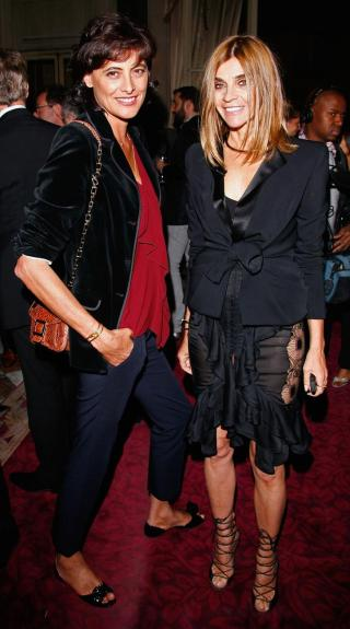 Carine Roitfeld and Ines de la Fressange at Vogue's 90th Birthday in Paris on exshoesme.com