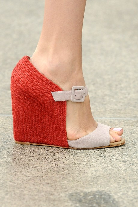 Mary Katranzou Red and Taupe Wedge Sandals SS11 on exshoesme.com