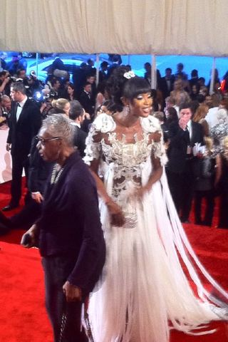 Naomi Campbell in Alexander McQueen at the Met Ball 2011 on exshoesme.com.