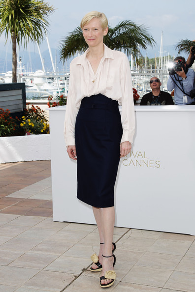 Tilda Swinton at Photo Call during the 2011 Cannes Film Festival on exshoesme.com.  Photo by Andreas Rentz-Getty Images Europe.
