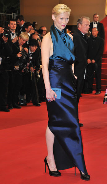 Tilda Swinton in Haider Ackermann at the 2011 Cannes Film Festival on exshoesme.com.