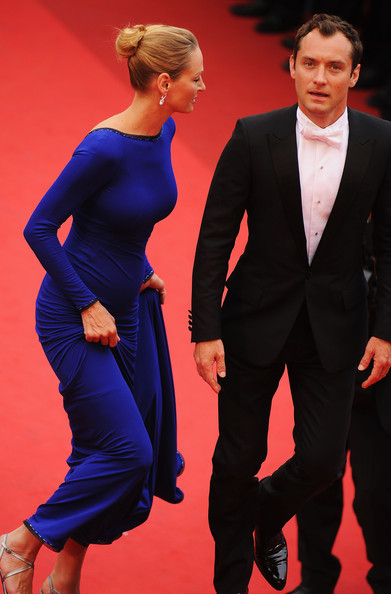 Uma Thurman and Jude Law at the 2011 Cannes Film Festival on exshoesme.com.