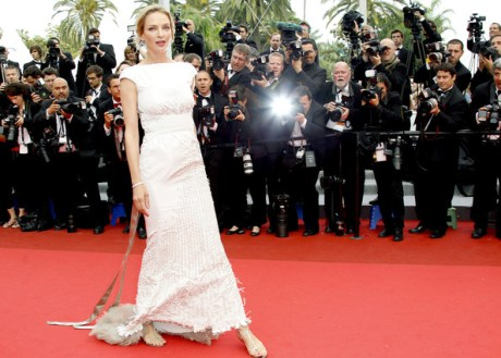 Uma in Jimmy Choo Flats at the 2011 Cannes Film Festival on exshoesme.com.