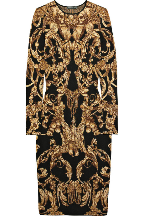 Alexander McQueen FW10 Intarsia wool and silk blend dress on exshoesme.com