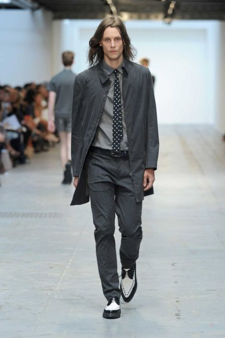 Costume National Menswear Grey Suit with Black and White Details for SS12 on exshoesme.com