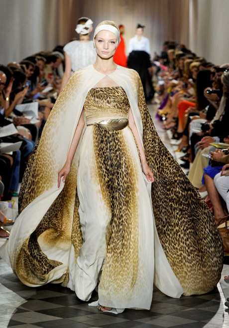 Giambattista Valli Fall 2011 Haute Couture Leopard Print Gown and Cape on exshoesme.com
