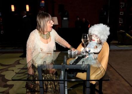 Hilary Alexander and her doppleganger doll at her sendoff on exshoesme.com