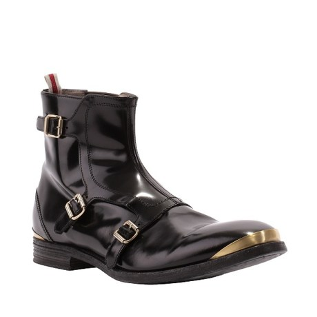 McQueen Men's Buckle Boot Side View on exshoesme.com