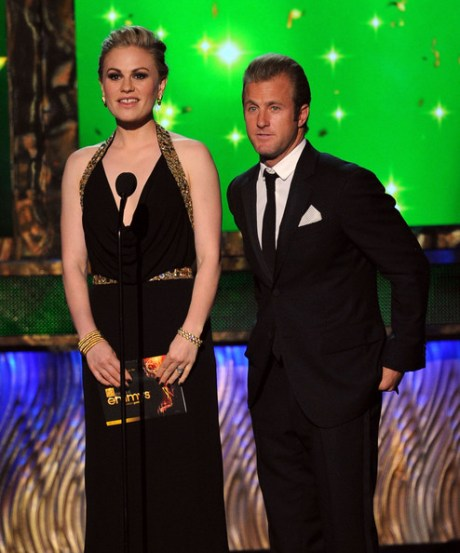 8. Anna Paquin in Alexander McQueen - Detail and Scott Caan at the 2011 Emmy Awards on Exshoesme.com