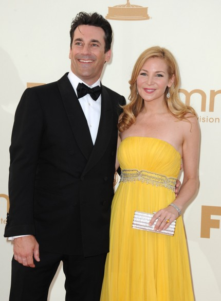 Jon Hamm and Jennifer Westfeldt at the 2011 Emmy Awards on exshoesme.com. Photo by Jordan Strauss WireImage