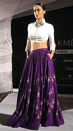 Anamika Khanna Spring Resort 2011 Purple Lainga Skirt on Exshoesme.com