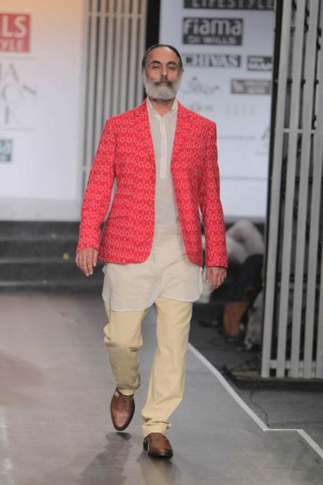 Rajesh Pratap Singh SS12 Menswear Red Ikat Jacket on Exshoesme.com
