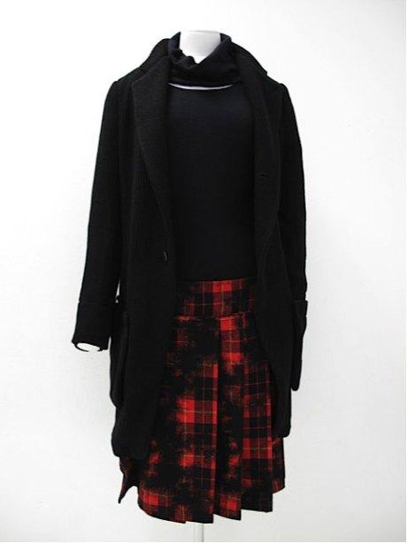 Y's Soft Black Jacket and Pleated Tartan Skirt on Exshoesme.com