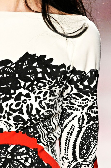 Prabal Gurung FW11 Red Black and White Dress Detail on Exshoesme.com