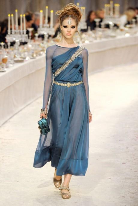 Chanel Métiers d'Art PF12 Paris-Bombay Collection Blue Sari Dress on Exshoesme.com