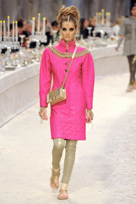 Chanel Métiers d'Art PF12 Paris-Bombay Collection Gold and Pink Dress on Exshoesme.com