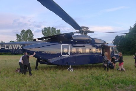 Bryan Ferry's band taking a helicopter from Kent to Kate Moss's Wedding on Exshoesme.com