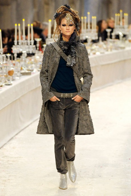 Chanel Métiers d'Art PF12 Paris-Bombay Collection Grey on Grey Beaded Jacket on Exshoesme.com
