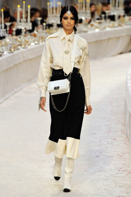 Chanel Métiers d'Art PF12 Paris-Bombay Collection Shirt, Tie, Skirt and Spats on Exshoesme.com