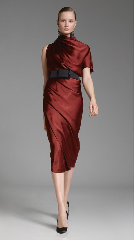 Donna Karan PF12 Red One-Shoulder Dress on Exshoesme.com