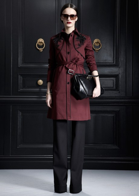 Jason Wu PF12 burgundy embroidered trench on Exshoesme.com