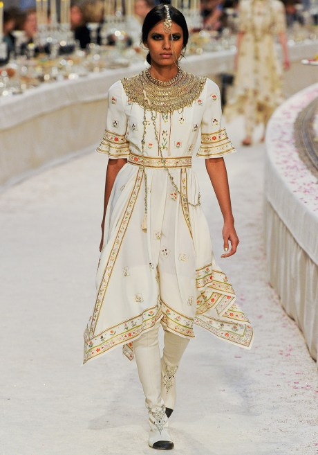 Laxmi Menon in Chanel PF12 Paris Bombay White Embroidered Handkerchief Hem Dress on Exshoesme.com