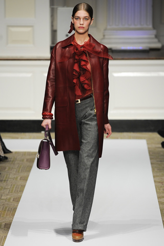 Oscar de la Renta PF12 burgundy leather coat on Exshoesme.com