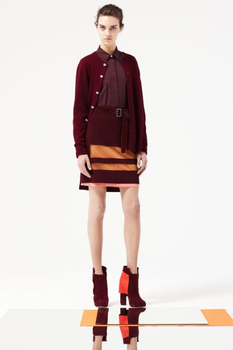 Pringle of Scotland PF12 burgundy cardigan, skirt, boots and belt on Exshoesme.com