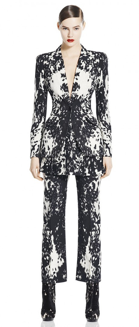 Sara Burton for Alexander McQueen PF11 Black and White Animal Print Suit on Exshoesme