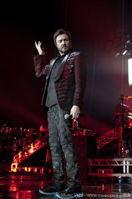 Simon Le Bon of Duran Duran performing at 02 Arena in London on Dec 12, 2011 on Exshoesme.com