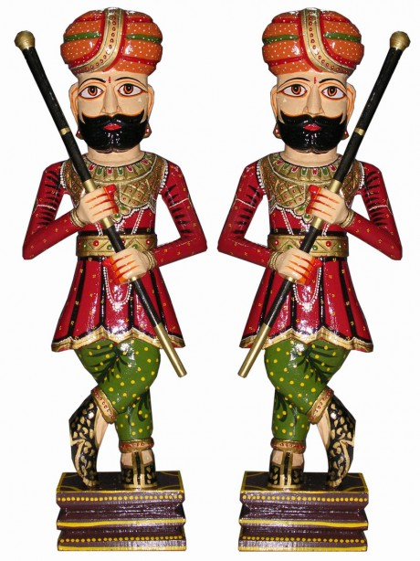 Wooden Chowkidar Figurines, Darban on Exshoesme.com