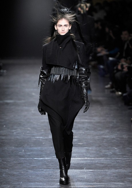 Ann Demeulemeester FW11 Wool Folded Flap Coat with Leather Feather Belt on Exshoesme.com