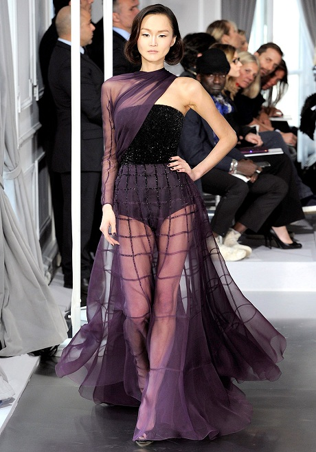 Christian Dior SS12 Couture Purple Sheer Gown on Exshoesme.com
