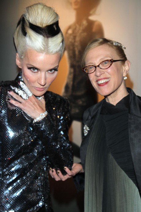 Daphne Guinness and Valerie Steele at the opening of the Daphne Guinness Exhibit at the Museum at FIT on September 15, 2011 on Exshoesme.com