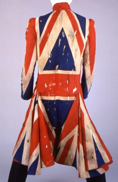 Earthling Tour Union Jack jacket designed by Alexander McQueen in collaboration with David Bowie on Exshoesme.com