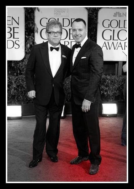 Elton John with David Furnish in Louboutins  at the 2012 Golden Globe Awards on Exshoesme.com
