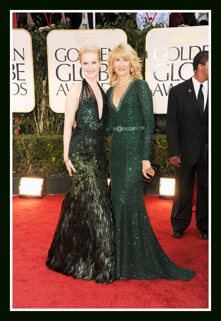Evan Rachel Wood in Gucci Première with Laura Dern in Andrew Gn at the 2012 Golden Globe Awards on Exshoesme.com