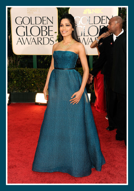 Freida Pinto in Prada at the 2012 Golden Globe Awards on Exshoesme.com