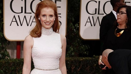 Jessica Chastain at the 2012 Golden Globe Awards on Exshoesme.com