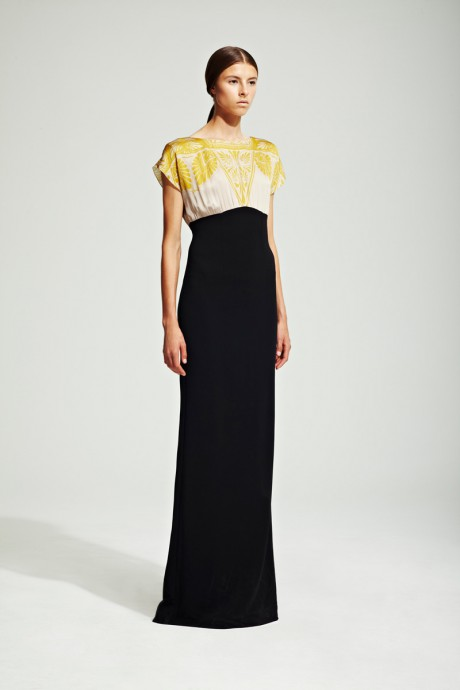 Jonathan Saunders Resort 2012 Gold, Ivory and Black Gown on Exshoesme.com