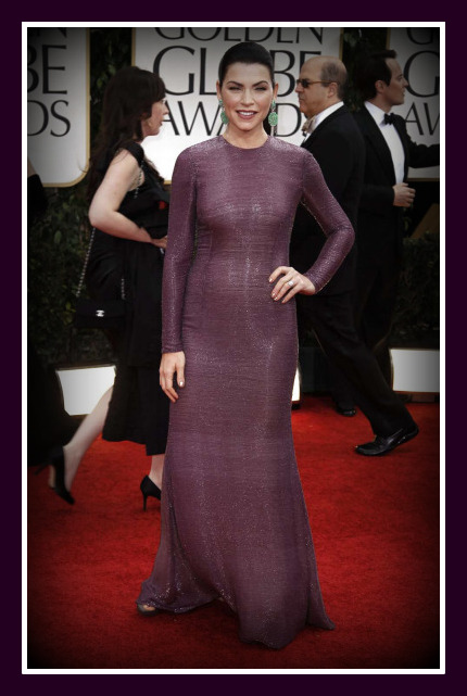 Julianna Margulies in Naeem Khan - front view at the 2012 Golden Globe Awards on Exshoesme.com