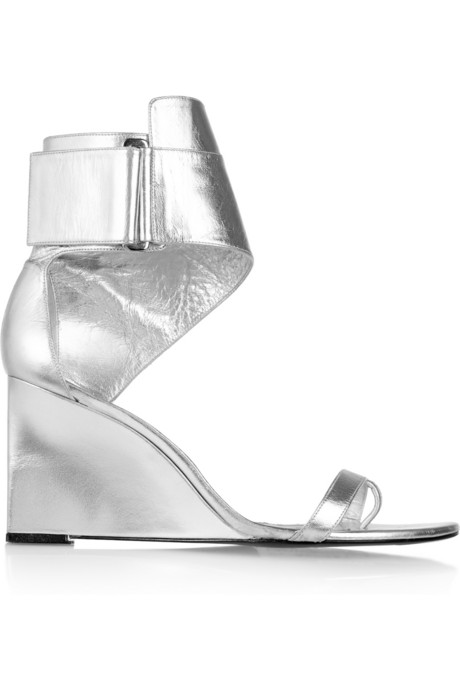 Karl Lagerfeld for Net-a-Porter silver wedge sandals on Exshoesme.com