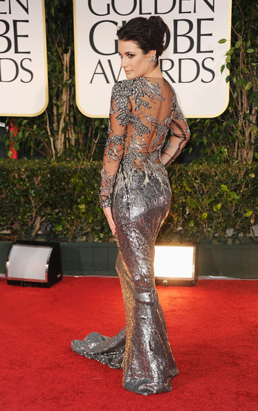 Lea Michele  at the 2012 Golden Globe Awards on Exshoesme.com