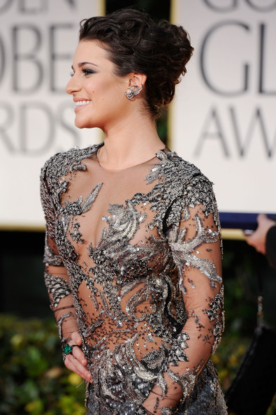 Lea Michele in Marchesa at the 2012 Golden Globe Awards on Exshoesme.com
